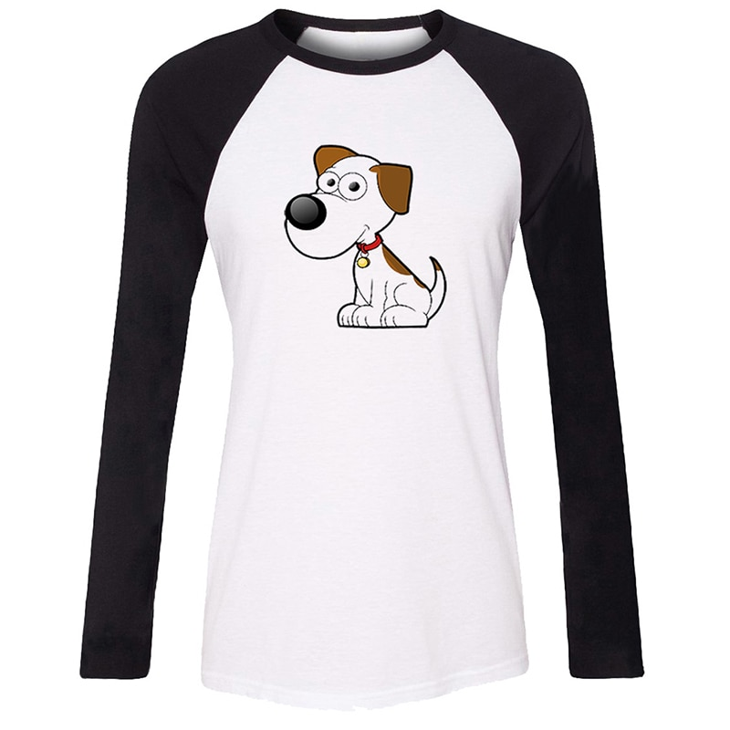 Cartoon Dog Cat monkey penguin tortoise Lion Design Womens Ladies Long Sleeve Printing T shirt Graphic Tee Shirt Cotton Tshirts