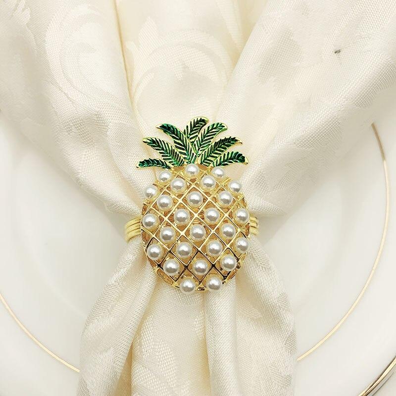 6 pçs/lote bonito guardanapo anéis abacaxi forma pérola frisado brilhando ouro prata baptizado bangle metal presente de casamento festa suprimentos