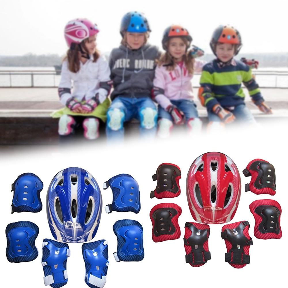 7 Pcs Kids Roller Skating Bike Helmet Knee Wrist Guard Elbow Adjustable Pad Protection Outdoor Safety Gear Riding Roller For Kid