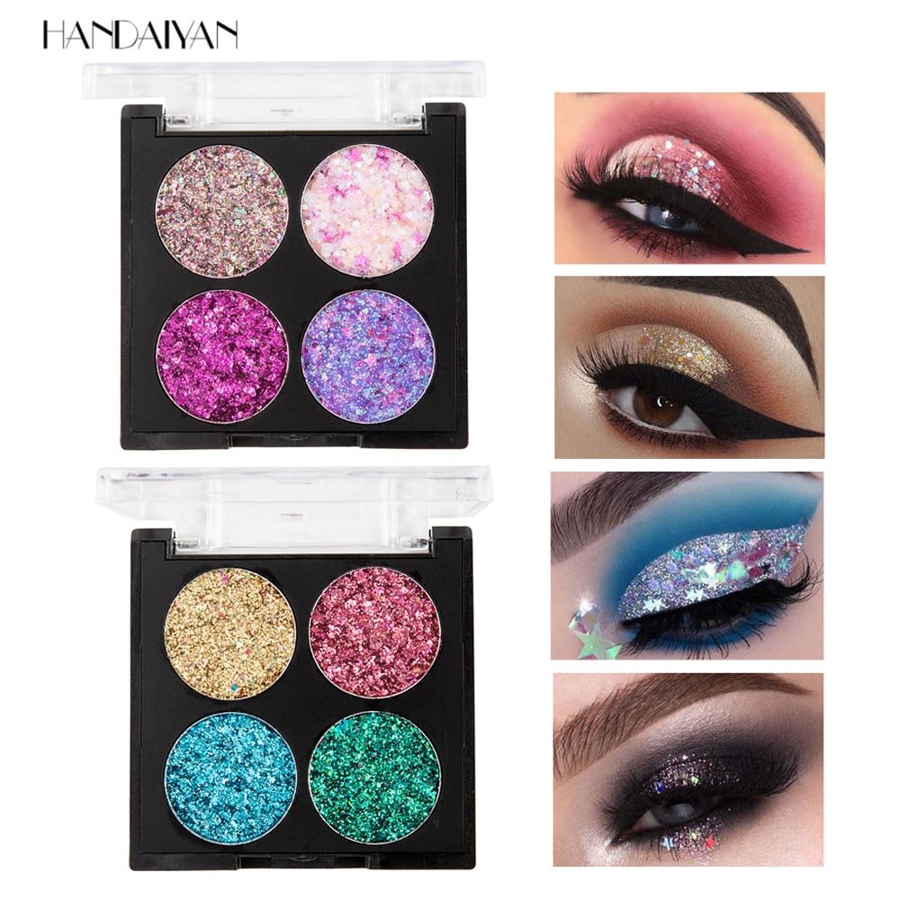 HANDAIYAN Makeup Palette 4 Color Diamond Glitter Eyeshadow Palette Long Lasting Easy to Wear Shimmer Eye Shadow Palette