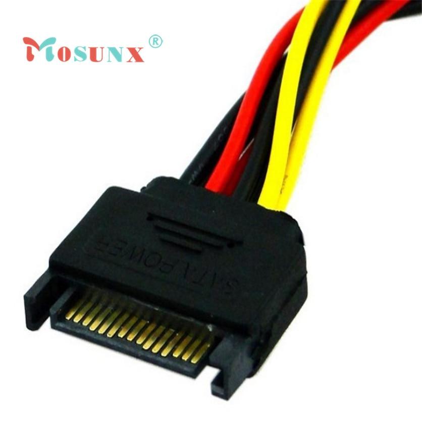 Mosunx Simplestone 15Pin SATA macho enchufe a 2 hembra 15Pin Power HDD cable conector de divisor Nov4