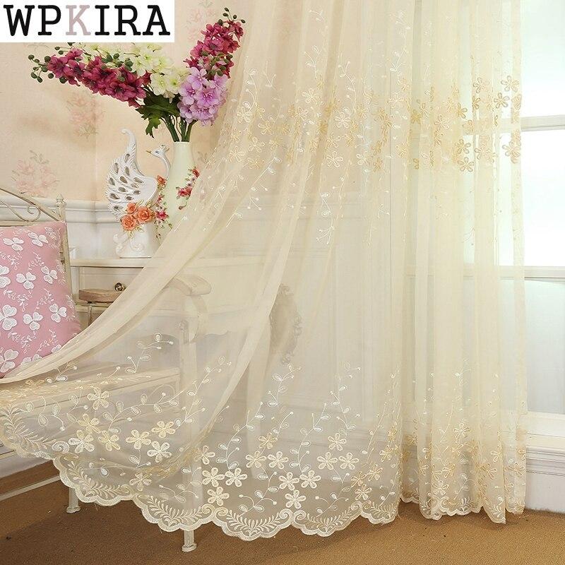 Brodé fleur blanc Tulle rideaux pour salon Beige rideaux transparents pour chambre fini Voile rideaux rideaux 273 & 30