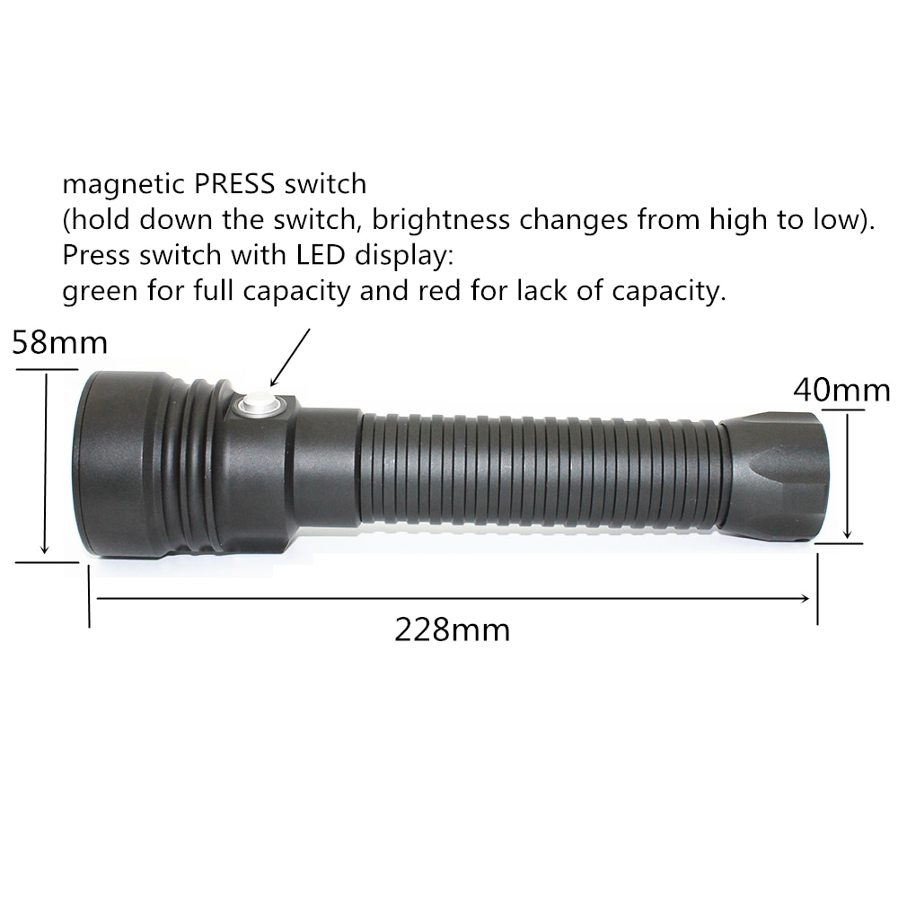 Diving Flashlight XHP70 LED 4000LM XHP70.2 Underwater waterproof scuba lantern torch 26650 lamp for Scuba diver enlarge