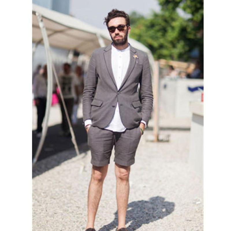Jaqueta de verão dos homens novos + shorts Cinza Desgaste do Trabalho Formal Único Breasted Homens Da Praia do Verão do Partido Do Baile de Finalistas Terno blazers