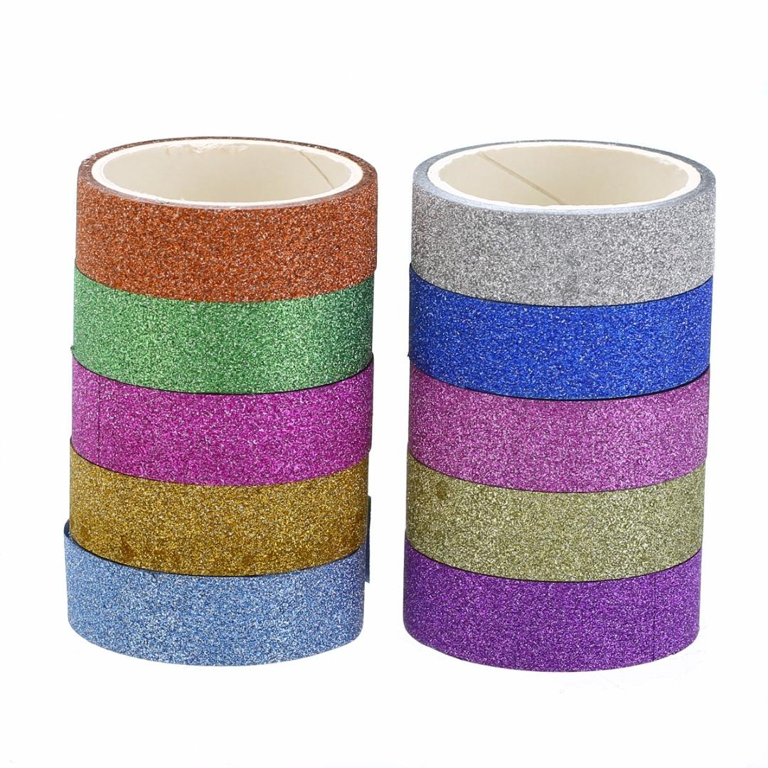 10 pcs 1.5 cm x 300 cm Elegante Brilhante Fitas Glitter Adesivo Mascaramento Washi Fita Adesiva de Papel Ofício DIY Decoração rótulos