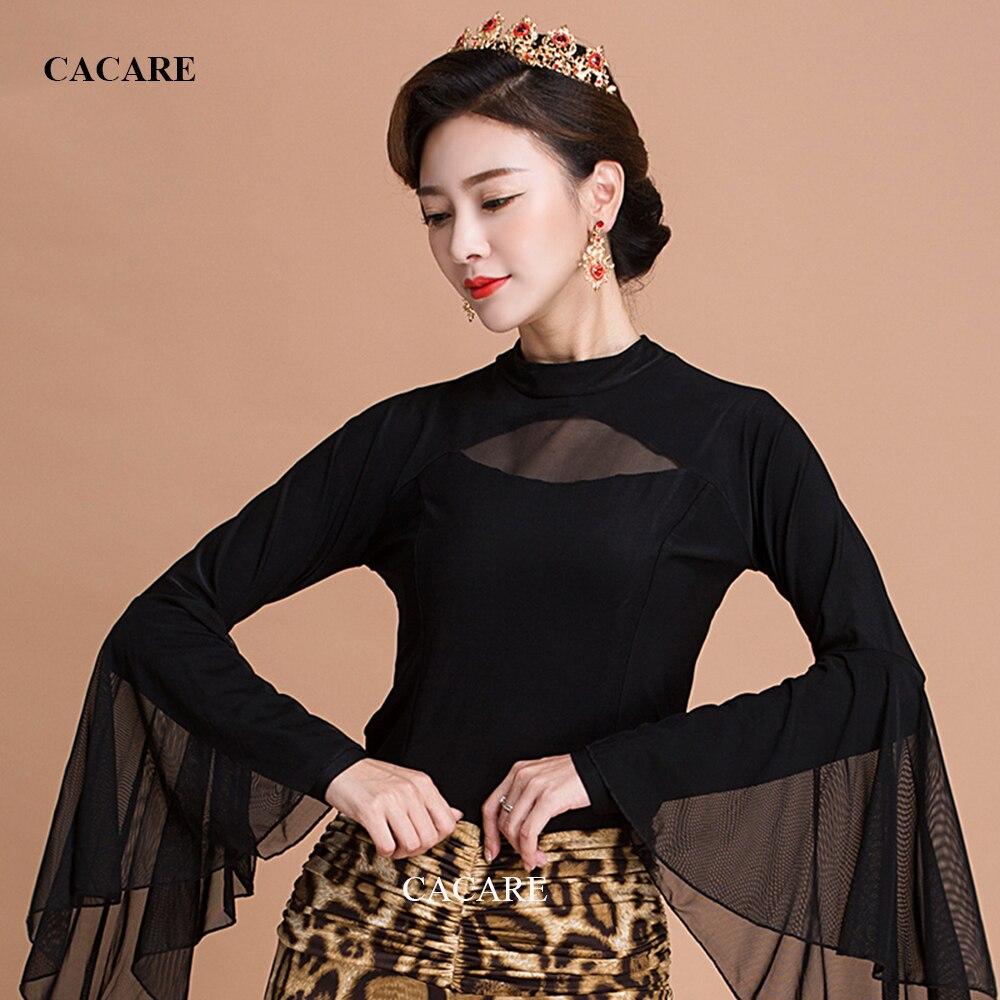 CACARE-قمصان رقص لاتينية نسائية ، ملابس رقص لاتينية مع انتفاضات ، زي Tango و Salsa