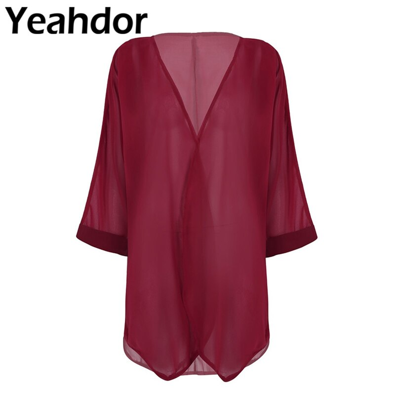 Women Ladies Long Sleeves Open Front Ruffled Loose Chiffon Shawl Cardigan Bolero Shrug Beach Cover U