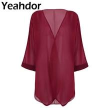 Women Ladies Long Sleeves Open Front Ruffled Loose Chiffon Shawl Cardigan Bolero Shrug Beach Cover U