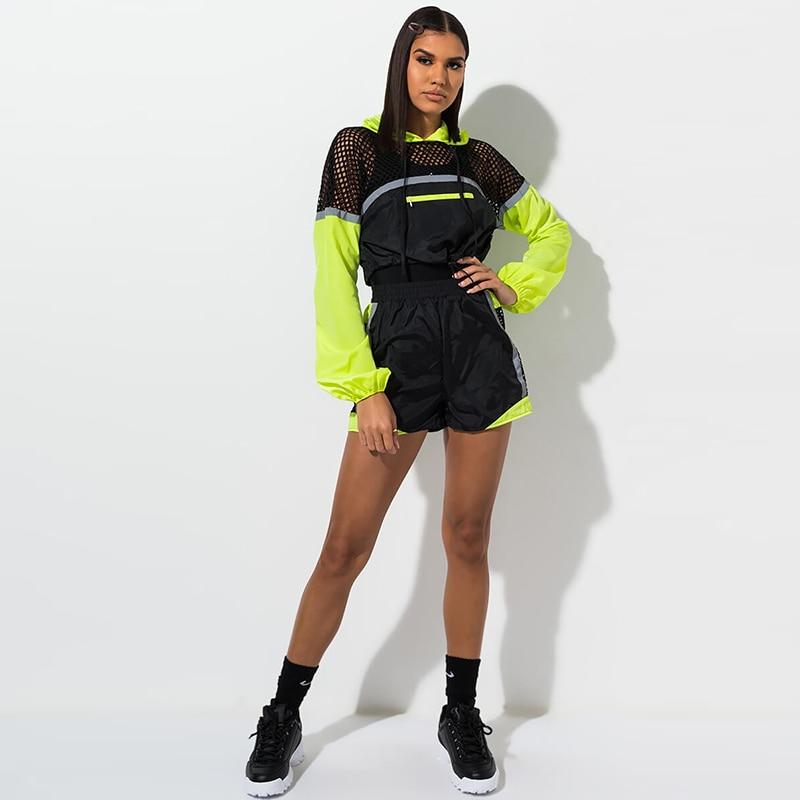 TWO PIECE SET Runway Shorts Long Sleeve Jacket Suit Mesh Fish Net Hollow Out Patchwork Tracksuit Women Block Color Harajuku 2 Pc