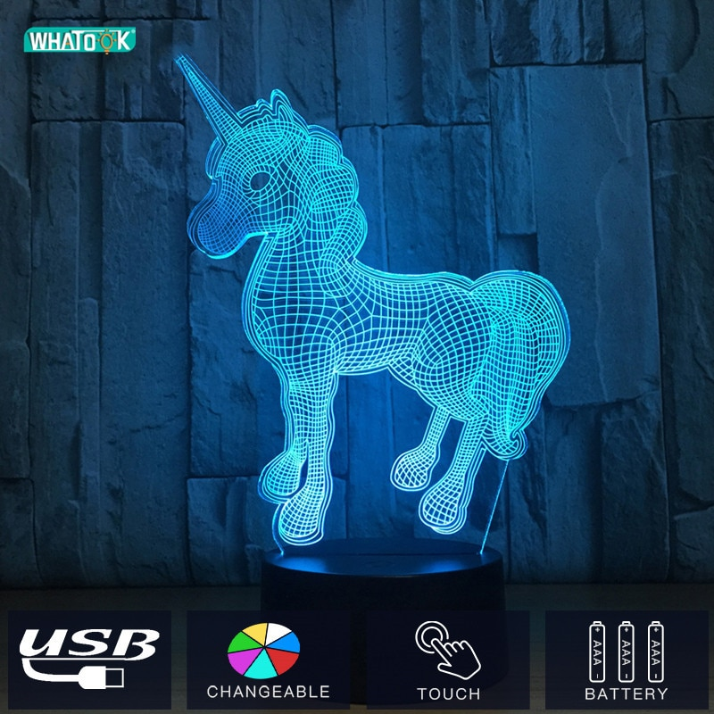 Unicornio 3D LED Acryl Nacht Lichter Einhorn Lampen Cartoon Tiere Beleuchtung Luminary Luminous Schlafzimmer Pferd Baby Touch Geschenke DC