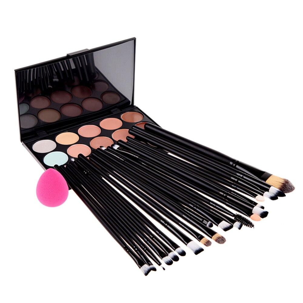 Juego de maquillaje 20 uds, brocha de maquillaje + esponja + corrector de 15 colores, paleta de contorno de brillo mate, herramienta de sombra de ojos de base # Bp2015