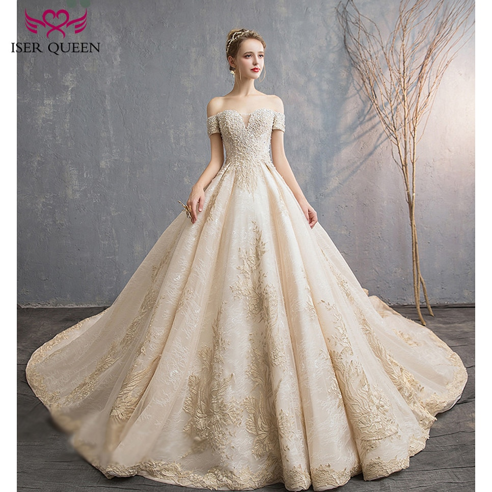 Mangas casquillo de perlas y abalorios, cuello en V champán bordado elegante 2020 lazo de boda europeo up vestido de bola gran tren wx0144