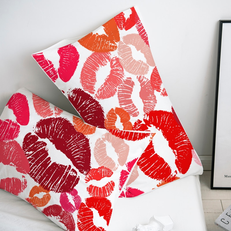 Custom Pillow Case Pillowcase 50x70 50x75 50x80 70x70 Decorative Pillow Cover Sexy red Lip Bedding for wedding Drop Shipping