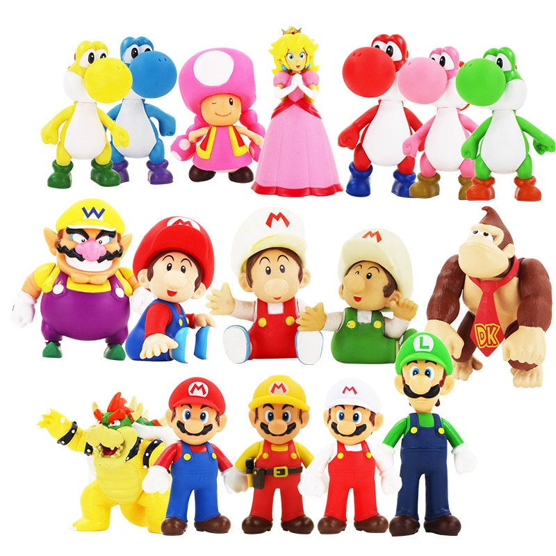 21 estilos 8-15cm Super Mario Bros Luigi Mario Yoshi Goomba Bowser Wario Donkey Kong sapo Toadette figura de acción de PVC juguetes muñecas