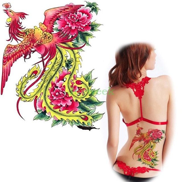 Waterproof Temporary Tattoo Sticker on back large colorful pheonix bird tatto stickers flash tatoo fake tattoos for women girl