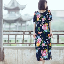 Scuwlin 2020 femmes été Robe en lin Vintage fleur avec papillon imprimé ample mi-longue Robe grande taille tenue décontractée S18
