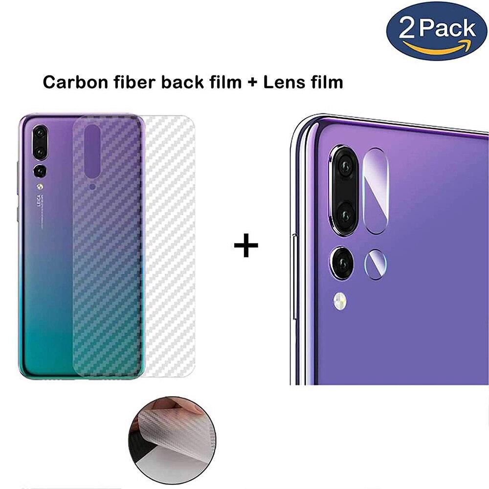 Protector de lente de cámara de vidrio templado trasero NYFundas + película trasera de fibra de carbono para huawei mate 20 lite pro x p20 P30 pro lite