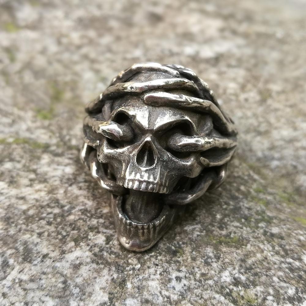 Thorns Skull 316L Stainless Steel Ring Biker Jewelry Mens Gothic Skull Rings
