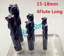 1 fresa de 15mm, 16mm, 17mm, 18mm, alargadora extendida, fresa CNC de cuatro acanaladuras HSS y fresa de aluminio