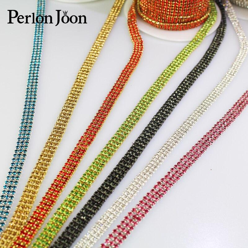 1 ярд, 3 ряда, разноцветные стразы, отделка, кристальная цепочка, лента для одежды, обувь, декоративные аксессуары ML070