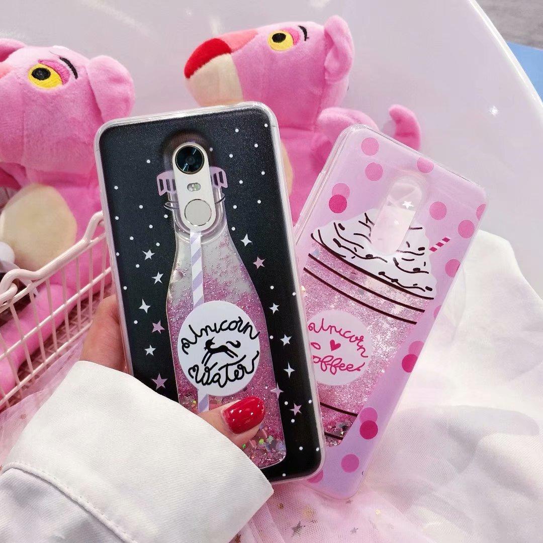 Funda de unicornio líquido para Samsung GALAXY S5 S7 S6 Edge S8 S9 Plus C5 C7 C9 Pro/Note 3 4 5 8 9 A40 A70, funda blanda con purpurina para helado