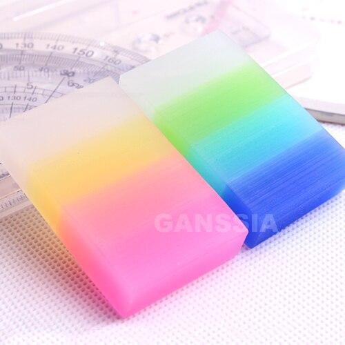 12 pçs/lote Rainbow color series borrachas de lápis Kawaii semitransparente cores borracha borracha escolar Papelaria (ss-1459)