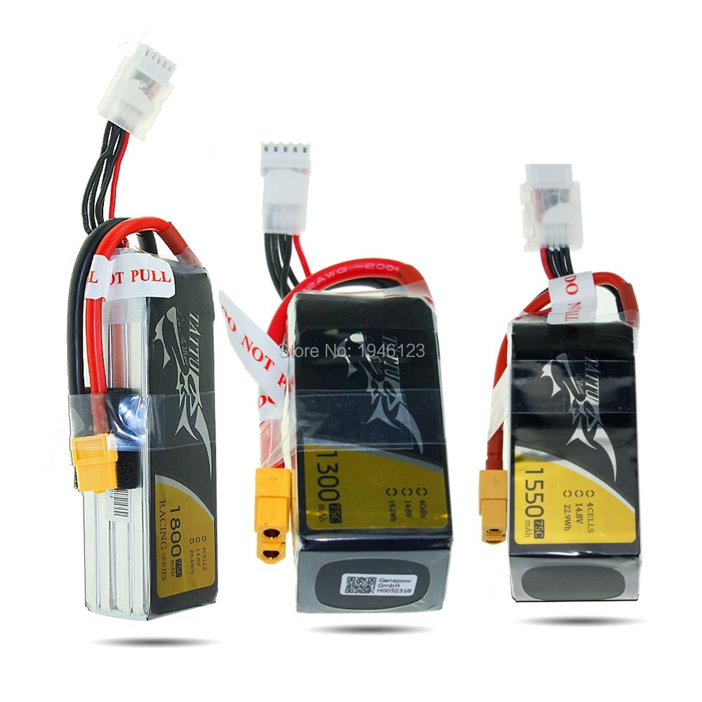 Аккумулятор для гоночного квадрокоптера татту 4S, 75C, 14,8 в, 1300 мА/ч, 1550 мА/ч, 1800 мА/ч, с разъемом XT60, для FPV