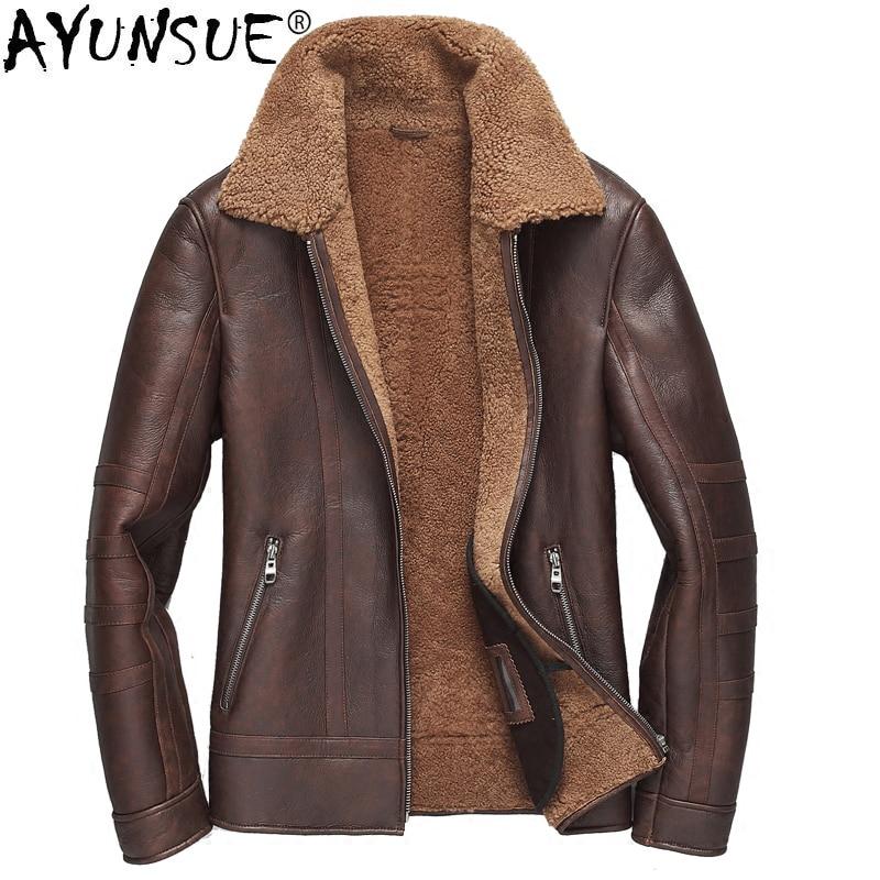 AYUNSUE-جاكيت قصير من جلد الغنم للرجال ، معطف فاخر من جلد الغنم ، جاكيت صوف من الفرو للرجال ، KJ1279 ، 2020
