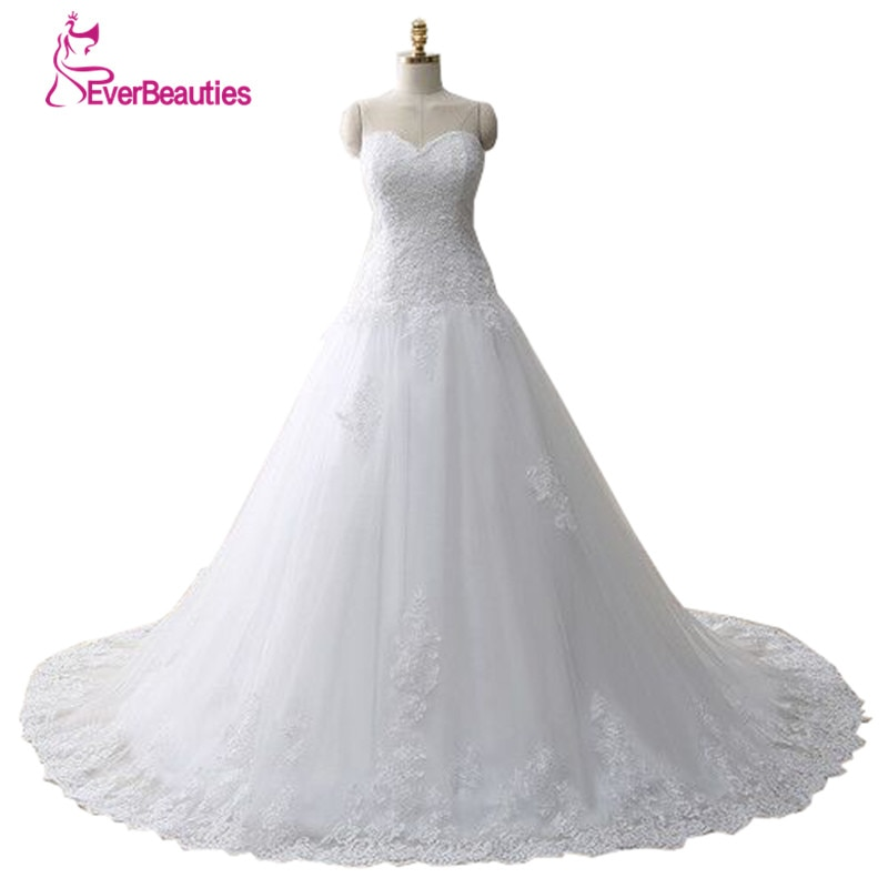 Vestido De Noiva Lace Trouwjurk Gelinlik Elegant A-line Sweetheart Appliqued Tulle Bridal Wedding Dress 2020