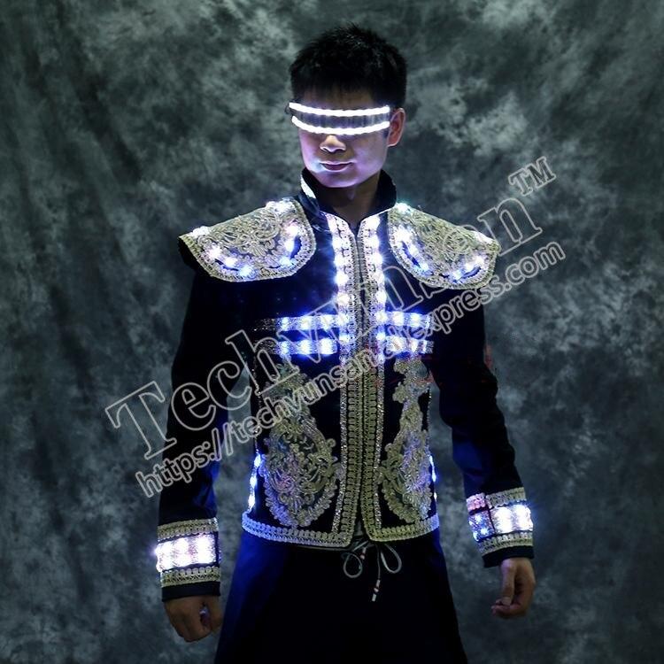 Ropa de actuación de tienda nocturna, ropa LED luminiscente, vestido de baile de Jazz, vestido de noche, bar, DJ, cantante, traje de vino para escenario