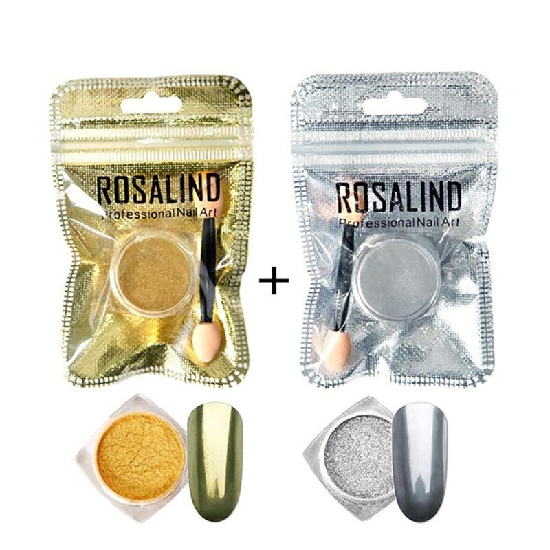 Блеск для ногтей ROSALIND порошок для ногтей Гель-лак магический зеркальный эффект Маникюр сделай сам для дизайна ногтей хромированный порошок для ногтей