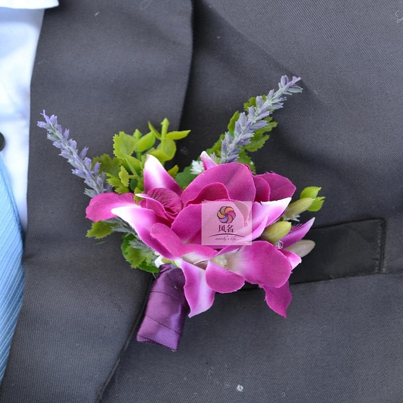 Broche de ramillete rosa para novio padrino fiesta graduación boda flores boda padrino ramas de Boutonniere mezcla de hortensia