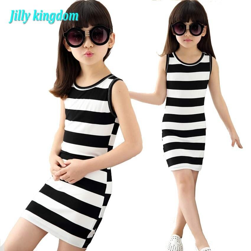 Vestido a rayas blancas y negras para niñas, Vestido de algodón para...