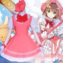 Carte Sakura Cosplay Lolita robe de femme de chambre Sakura carte Captor Sakura Kinomoto Cosplay japon uniforme Anime Costume