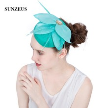 Feuilles de lin chapeaux de mariée Turquoise filles fête cheveux accessoires avec épingles à cheveux plumes Fascinatros sombrero boda azul SH71