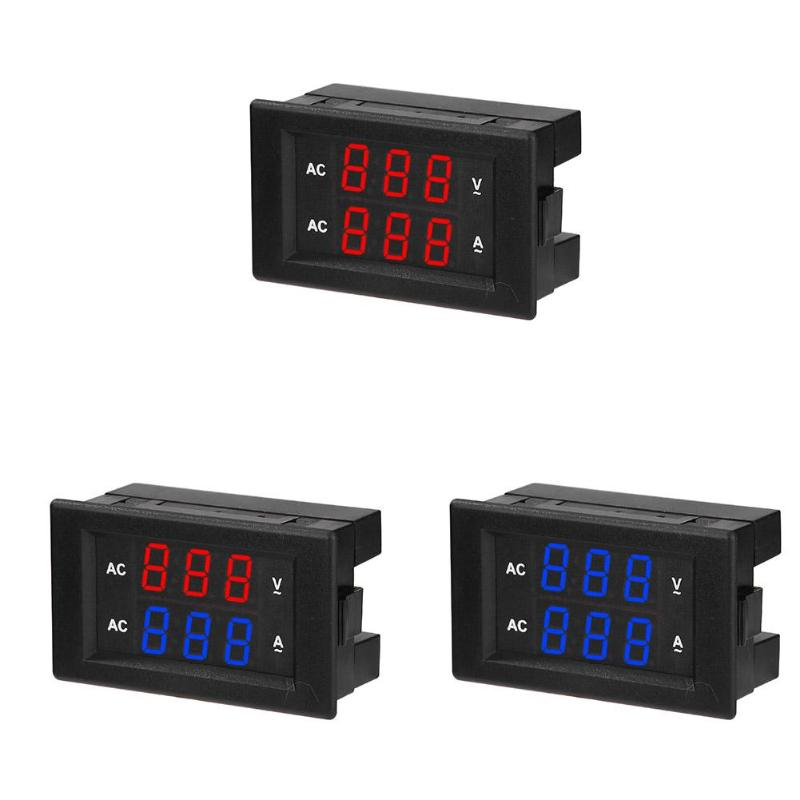 Amperómetro voltímetro de corriente de voltaje de doble pantalla Digital de 220 V