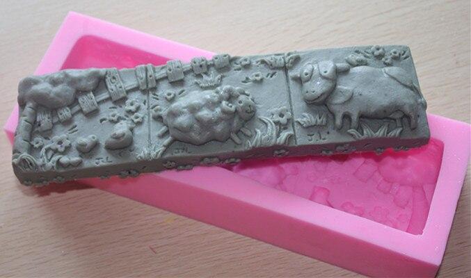 Molde de silicona de jabón hecho a mano, moldes de velas de animales, arcilla polimérica, oveja de vaca libre