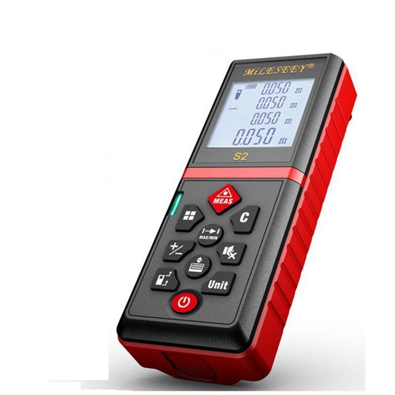 Telémetro láser Mileseey s2 60m, herramienta de medición, medidor de distancia láser, botón de silencio, medidor rojo
