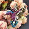 50/100 pcs/lot mode Antique ton or strass oiseau colibri Multi couleur autrichien cristal broche pour cadeau