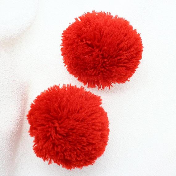 Набор из 40 шт. свободных тонких помпонов из пряжи, помпон из Красной пряжи, 4 см-6 см или вы определите цвет и размер