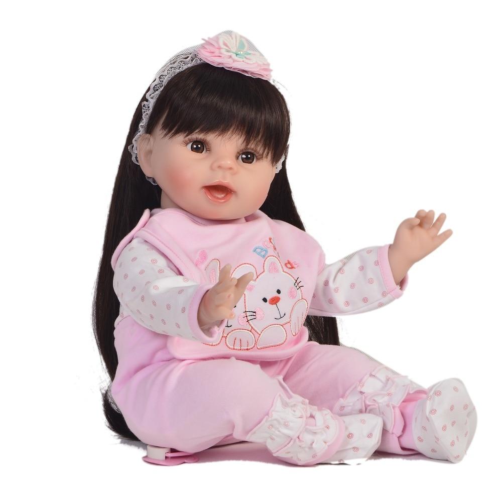 """22 """"55 cm Bebes reborn silicone bebê reborn bonecas princesa da menina da criança real boneca brinquedos para crianças presente de natal juguetes"""