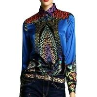silk shirts women 2018 autumn floral blouse green long sleeves poplin blouses office lady work elegant tops