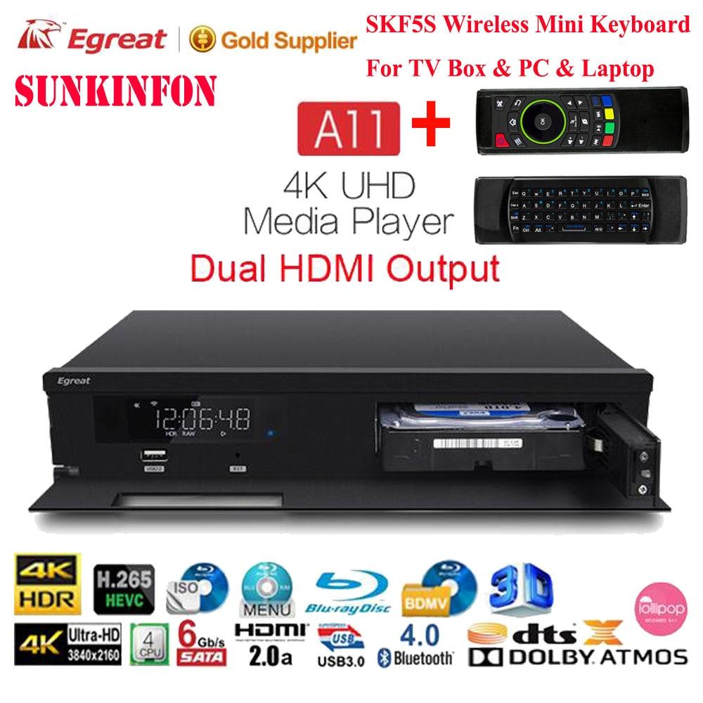 Egreat A11 4K UHD Blu-ray HDD reproductor de medios Hi3798CV200 2 GB/16 GB Bluetooth 4,0 Android TV Box 2,4G/5G Dual WiFi HDR10 Dolby DTS X