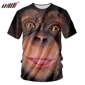 UJWI Man New Black Big Eyes Animal O Neck Tshirt 3D Printed Funny Orangutan T-shirt Creative Best Selling Large Size 5XL