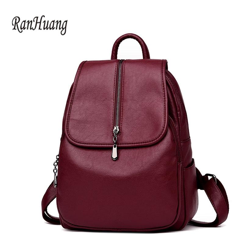 RanHuang New 2018 Women Genuine Leather Backpack High Quality Fashion Backpack Black Rucksacks Sheepskin Bags Girls Travel Bags