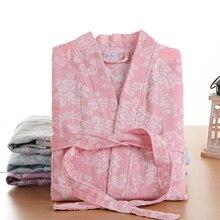 Newest Summer 100% Cotton Nightgown Sexy Bath Robe Womens Sleepwear Double deck Gauze Sleepshirts Female Home Bathrobe