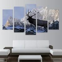 Toile dart mural HD  imprimes dimages sans cadre  5 pieces  taureau  elan sur le cote de la montagne enneigee  peintures de decoration de maison  affiche de cerf a la mode