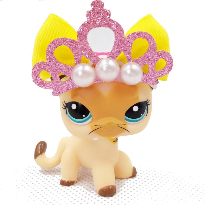 Tienda de mascotas Real soporte de juguetes bonitos 3573 raro gato de pelo corto amarillo Tan marrón Kitty antigua colección real Original con accesorios