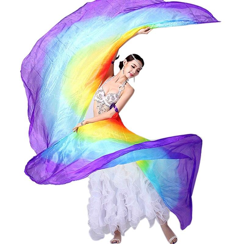 100% seda vientre escenario baile disfraz Isis alas bufanda Viel Fan 1 par accesorios para actuación en escenario chal velos