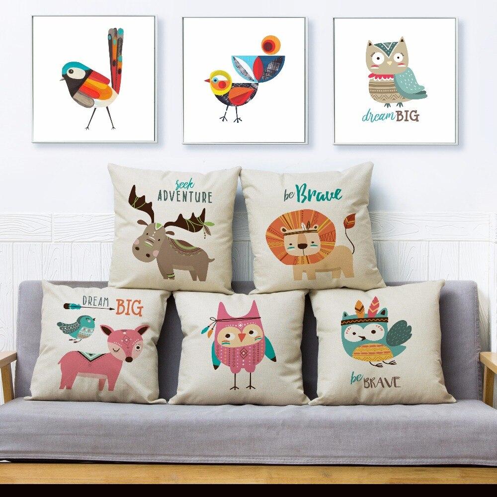 Cubierta de cojín estampada de animales de dibujos animados de pájaro y León de estilo nórdico, 45x45, funda de almohada cuadrada, funda de almohada de lino para decoración de hogar Fundas de almohadas